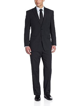 Calvin Klein Men's Black Stripe Slim-Fit Suit at Amazon Men's