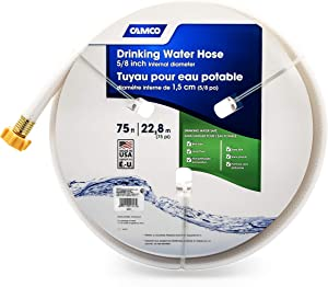 Camco TastePURE 75ft Drinking Water Hose - Lead and BPA Free - Reinforced for Maximum Kink Resistance - Features a 5/8