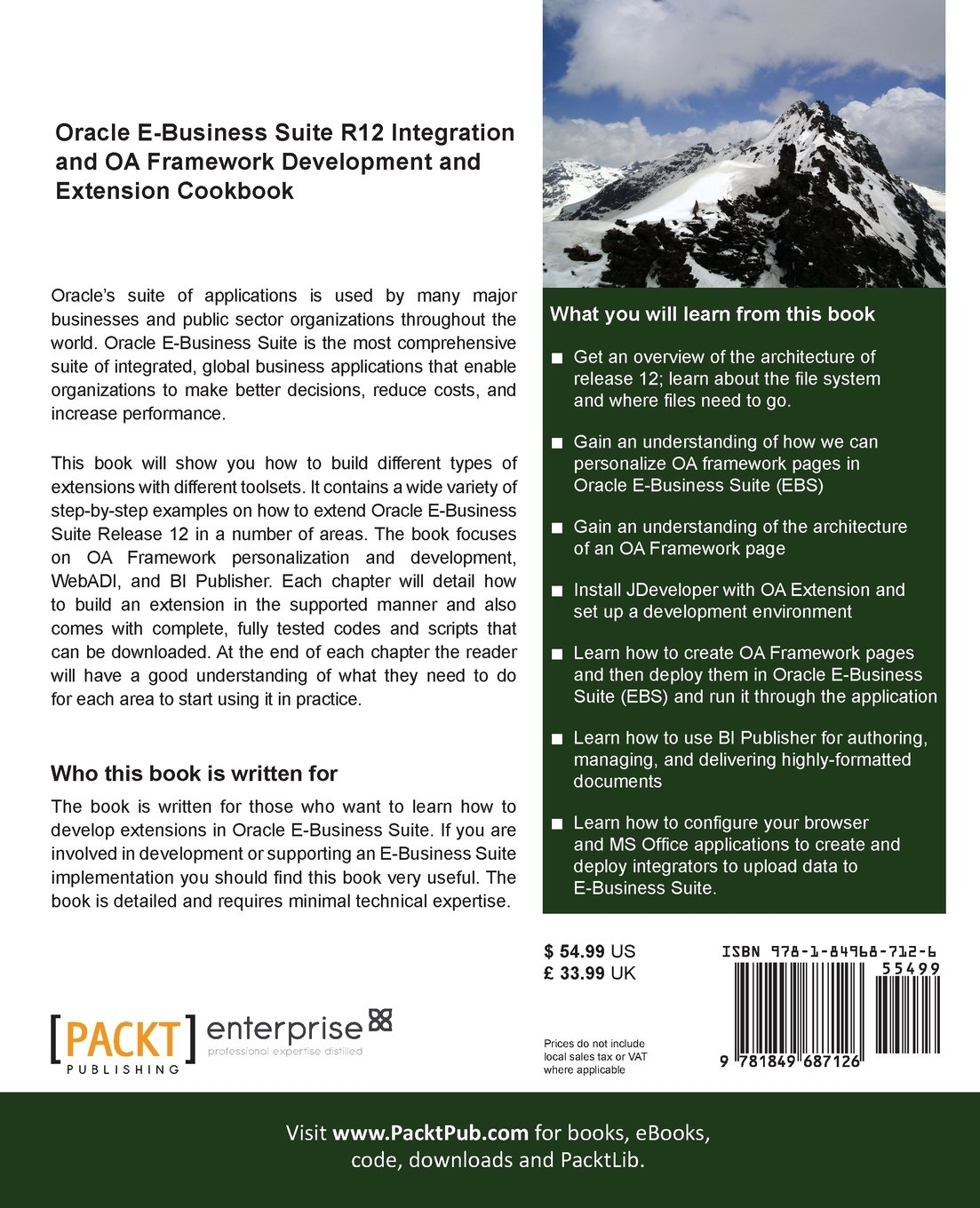 Oracle E-Business Suite R12 Integration and OA Framework Development and  Extension Cookbook: Andy Penver: 9781849687126: Amazon.com: Books