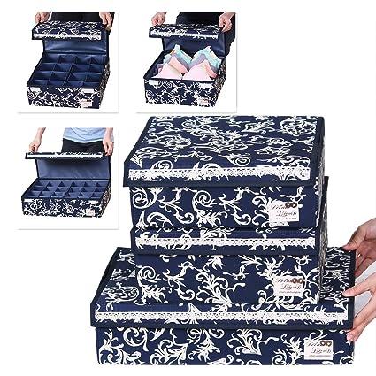 Sivin azul plegable organizador del armario de almacenamiento Caja sujetador ropa interior cajón Divider, Microfibra