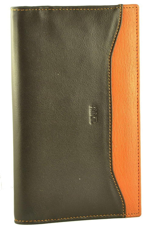 Fancil - Porte-chéquier marron et orange en cuir