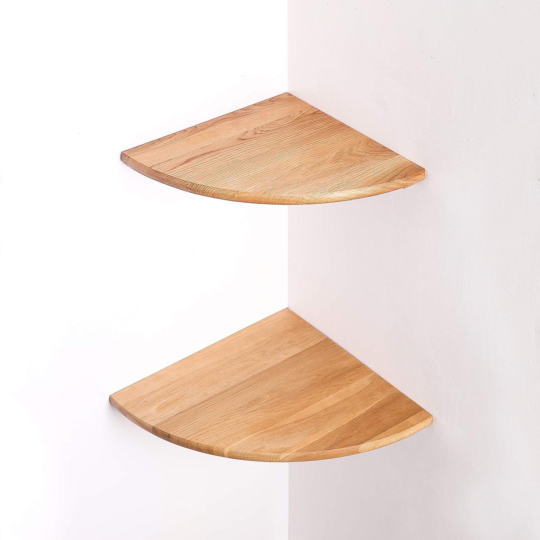 Oak,7 Corner Shelf,OAK Wood Floating Shelves 1PCS,Display Round Edging Wall Mount Display Rack,Bedside Organizer,Saving Space Storage Bookshelf for Bedroom Living Room Office Include Mounting Screw