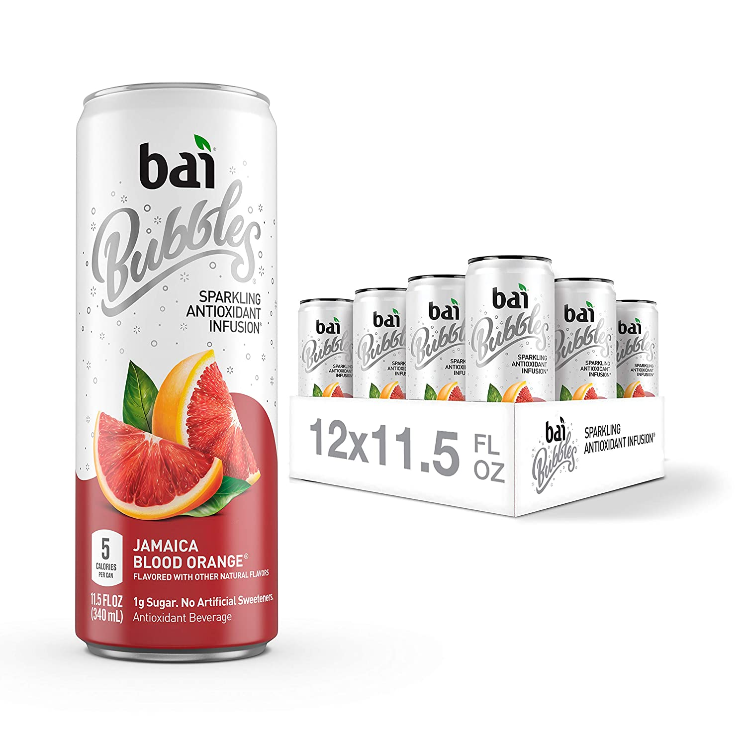 Bai Bubbles, Sparkling Water, Jamaica Blood Orange, Antioxidant Infused Drinks, 11.5 Fluid Ounce Cans, Pack of 12