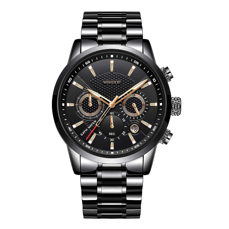 Relojes para Hombre Acero Inoxidable Impermeable Hombres Reloj Militar Cronógrafo Cuarzo Analógico Reloj Elegante Sport Pulsera Negro Reloj de Hombre