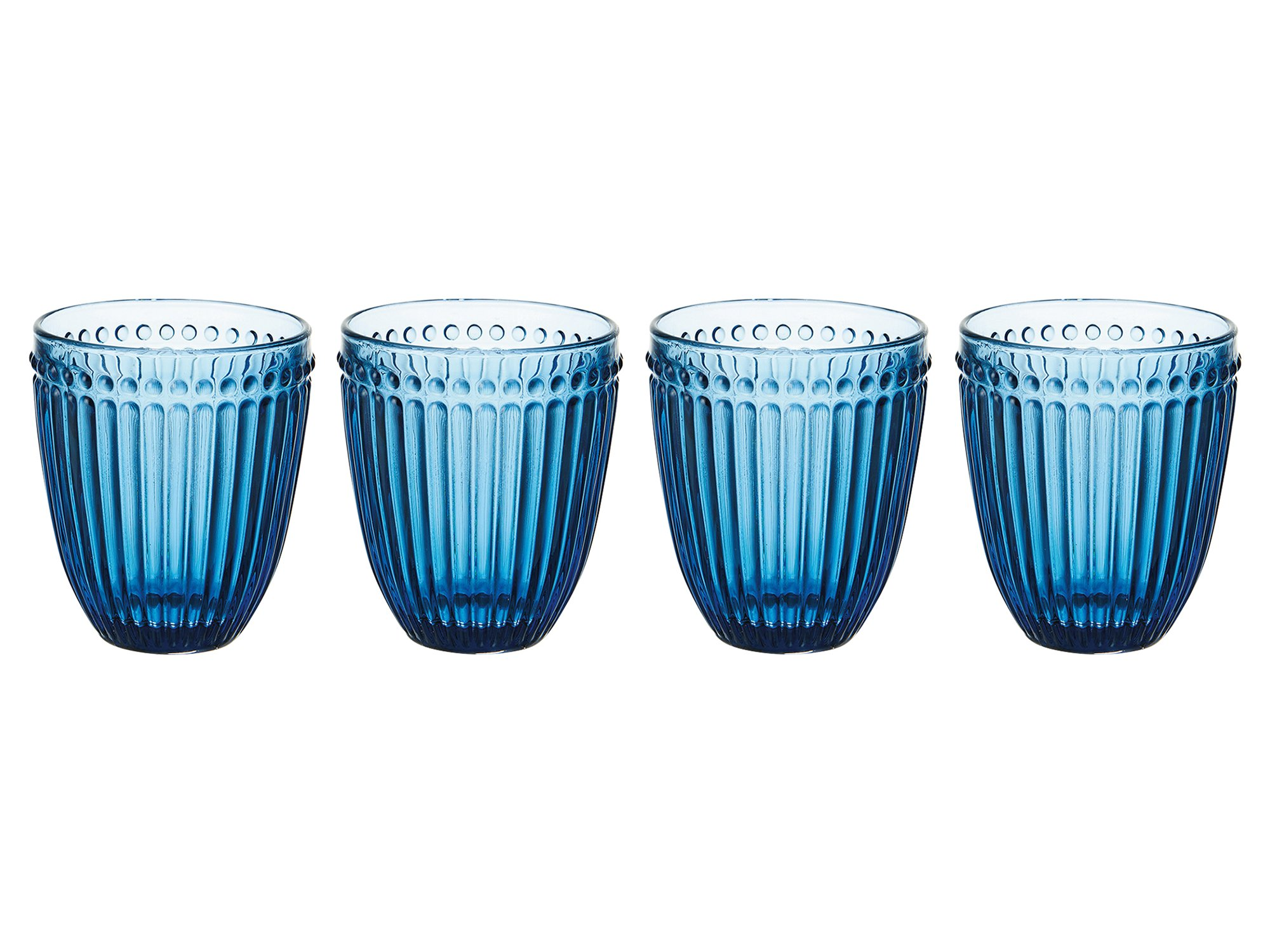 Mikasa Italian Countryside Double Old Fashioned Glass, Blue, 10-Ounce, Set of 4