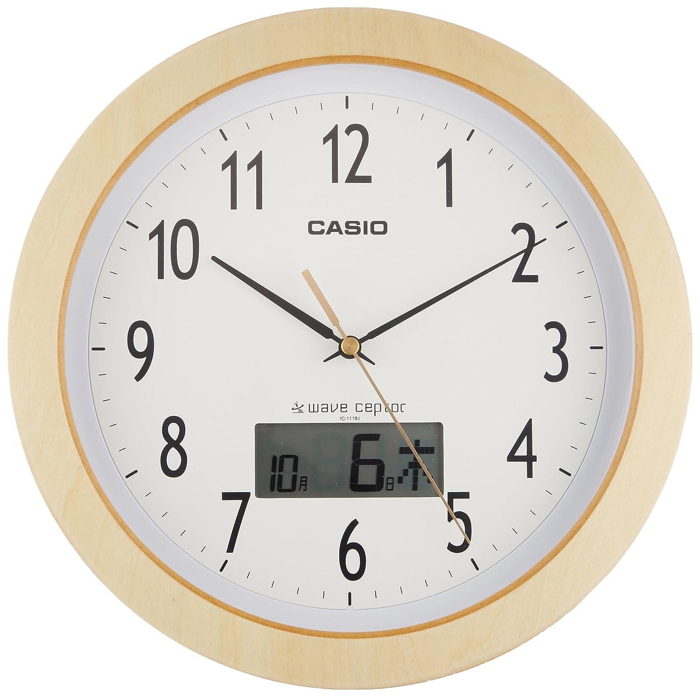 カシオ 木枠電波アナログ掛時計 白木調 IC-1110J-7JF B00Y9IEXW0ゴールド