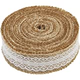 1 Metre of Natural Hessian Ribbon with Lace Detail, Available in 2.5cm, 4cm and 6cm Widths (4cm)