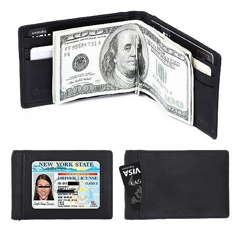 Cartera de piel para hombre con cierre RFID con clip de dinero - negro - Small: Amazon.es: Ropa y accesorios