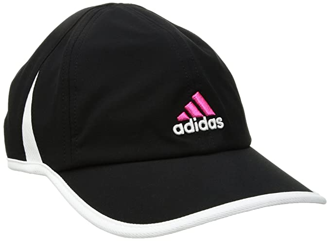 24c7c2c42 adidas Women's Adizero Relaxed Adjustable Performance Cap, BLACK/SOLAR  PINK/WHITE, One