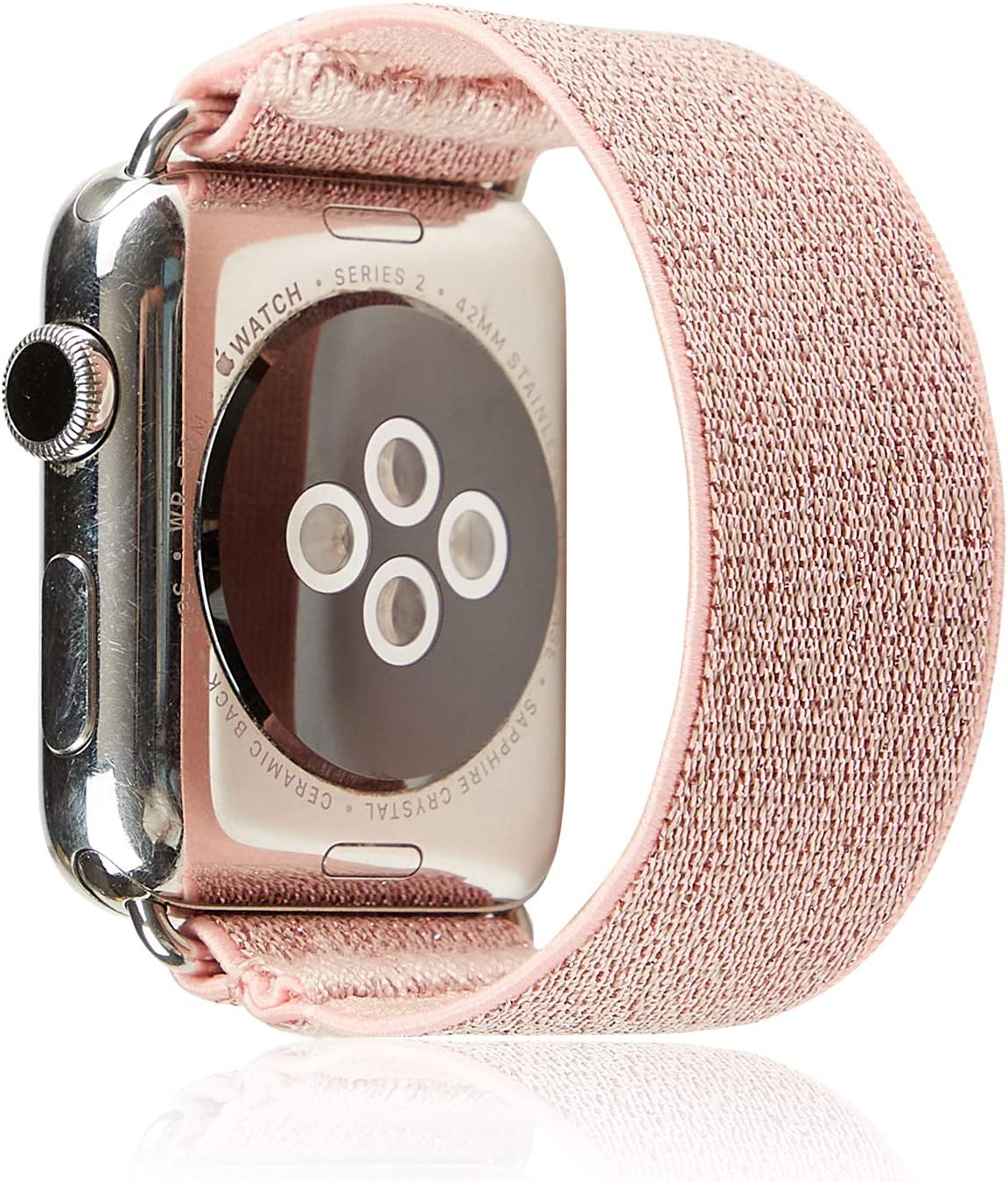 Elastic Band Compatible for Apple Watch, Scrunchie Stretch Wristbands Replacement Bracelet Loop Sport Strap for iWatch Series 1 2 3 4 5, Men Women Girls, Glitter Pink, 38/40mm, M