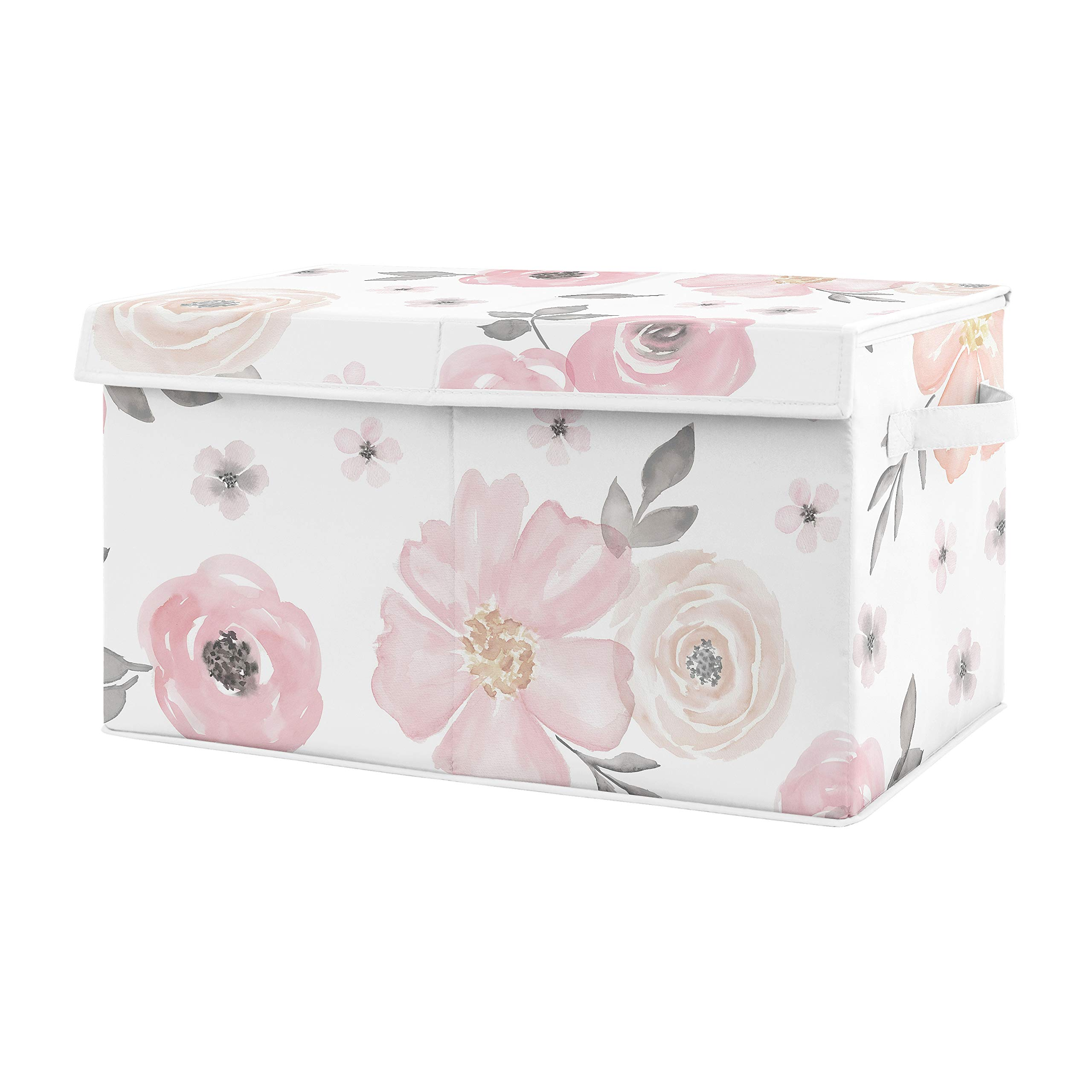 Sweet Jojo Designs Pink and Grey Rose Flower Girl Baby Nursery or Kids Room Small Fabric Toy Bin Storage Box Chest for Watercolor Floral Collection