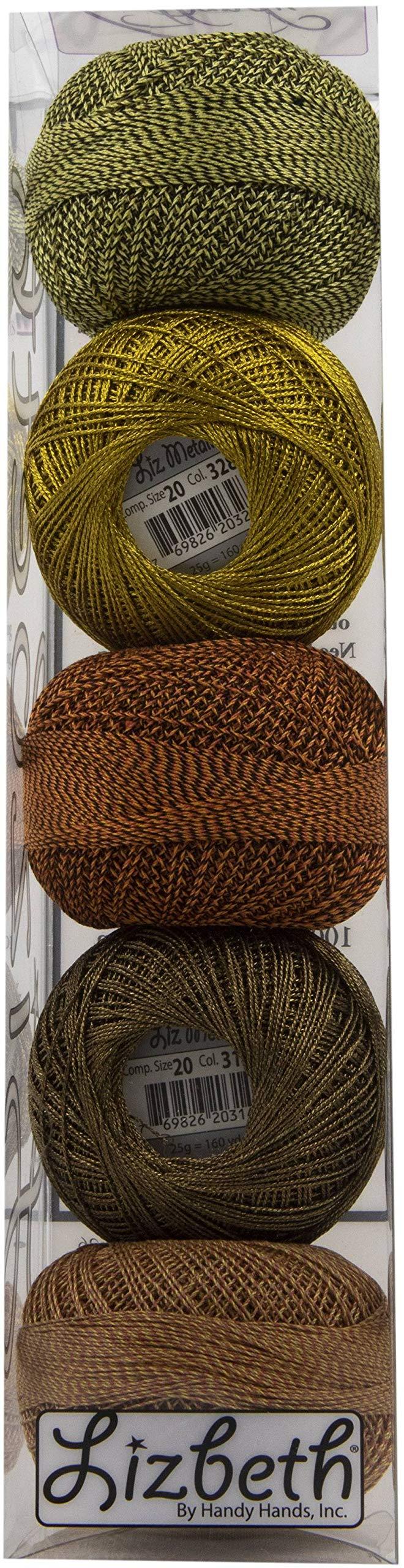 Handy Hands DP7207 Lizbeth Size 20 Metallic & Crochet Cotton Pack-Octoberfest 5/Pkg