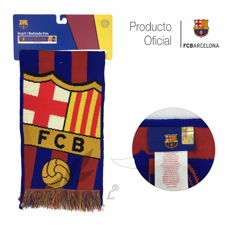 Producto Oficial FC Barcelona Bufanda FCBARCELONA (Firma Messi)  Amazon.es   Deportes y aire libre 5ddde1fde34