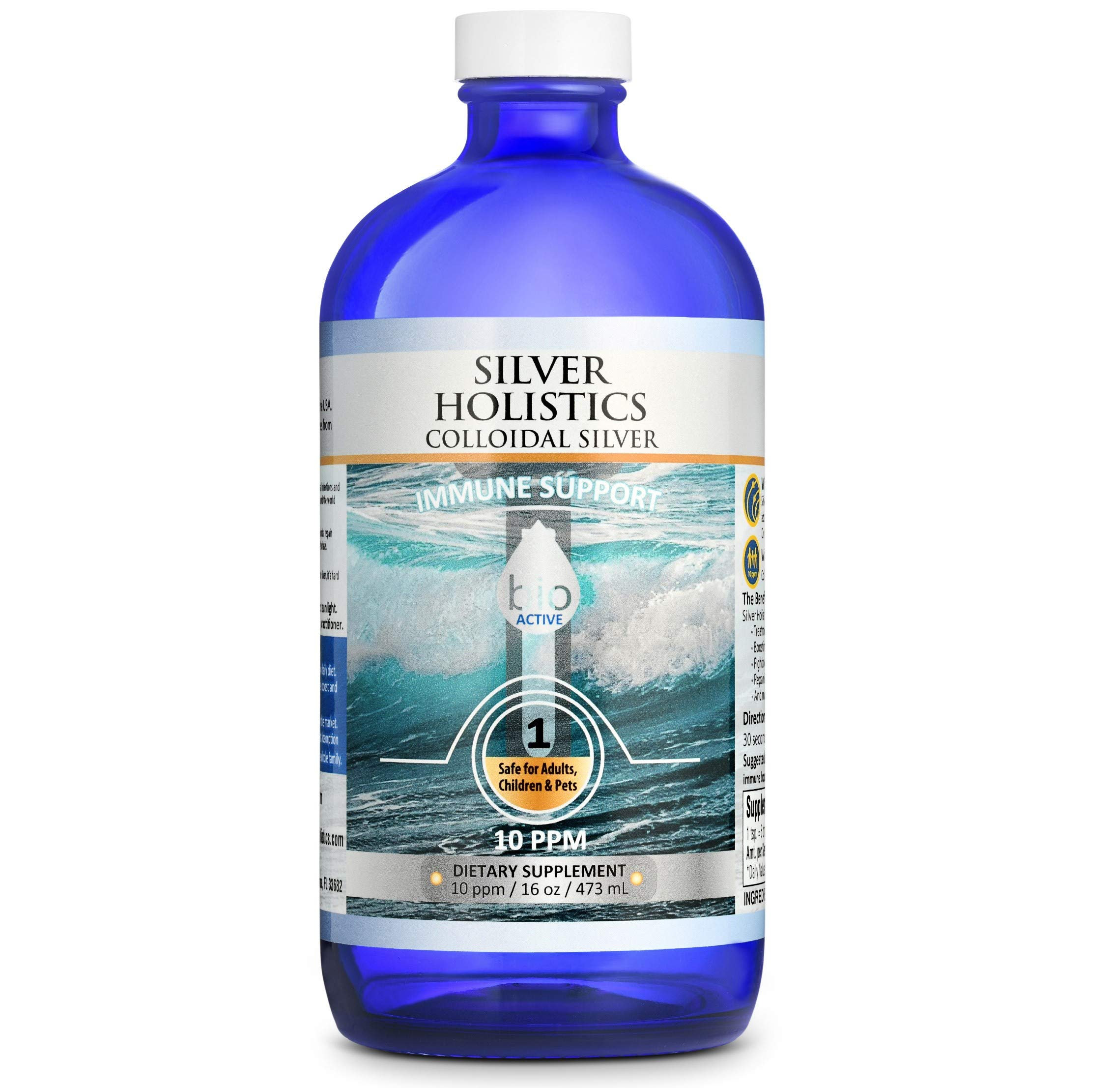 Silver Holistics   Colloidal Silver Liquid   Natural Immune System Booster   Pure 10 PPM Ionic Silver Water   Daily Mineral Supplement   16 oz. Glass Bottle   Safe for Pets by Silver Holistics