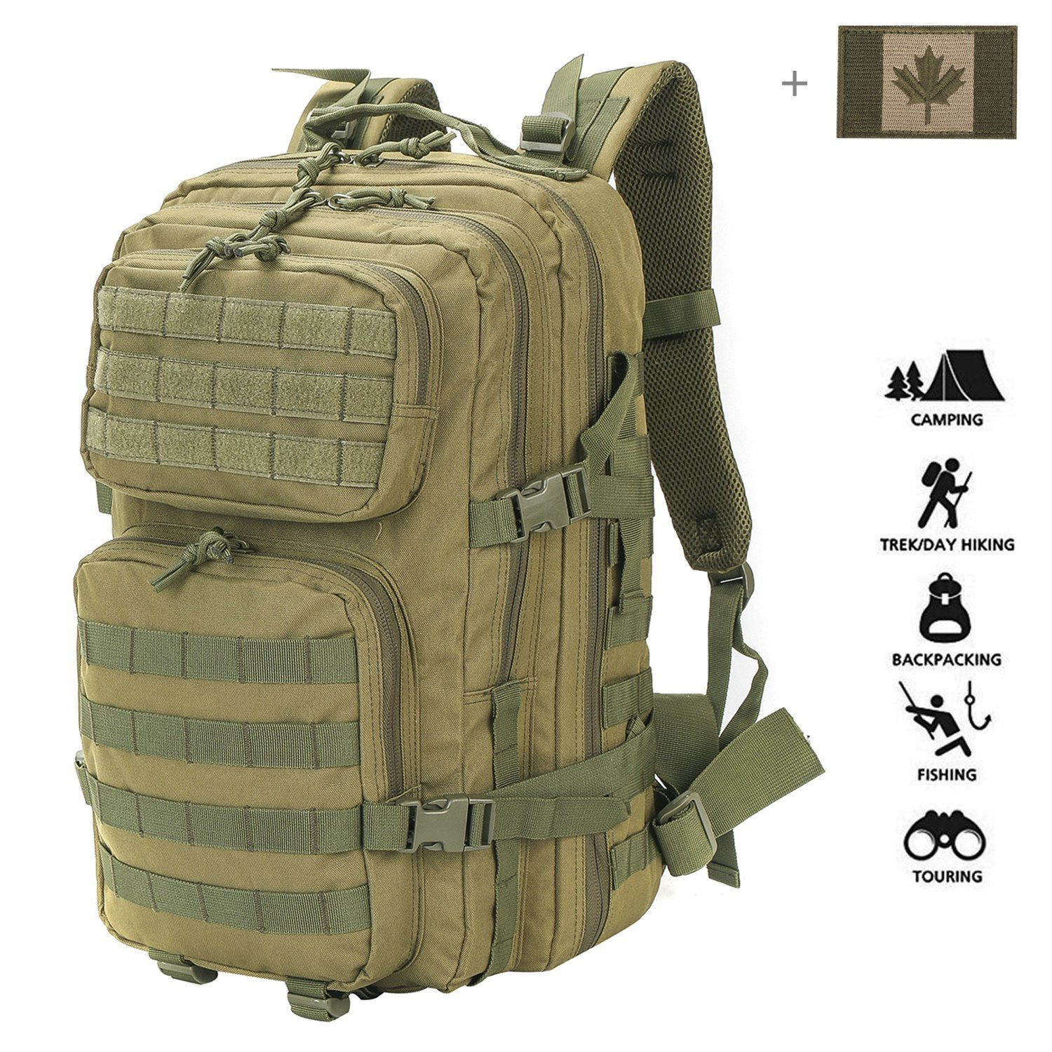 cce80d6400 Coolton Military Tactical Backpack Large 3 Day Assault Pack Army Molle Bug  Out Bag Backpacks Hunting Rucksacks 40L with Flag Patch