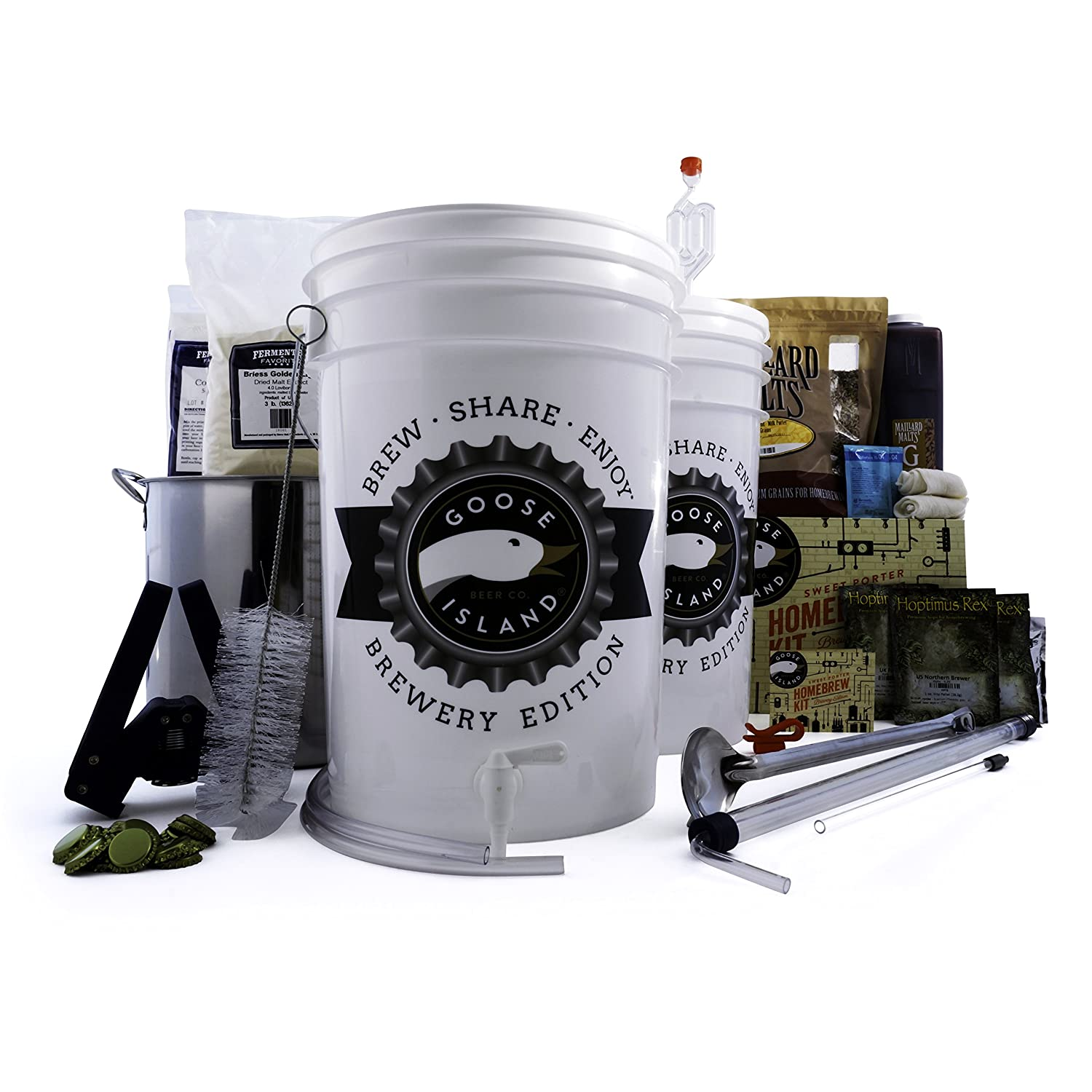 Northern Brewer - Goose Island Beer Brewing Equipment Starter Kit - 5 Gallon - Brew Share Enjoy Brewery Edition Goose Island Sweet Porter Recipe - Includes Brew Kettle