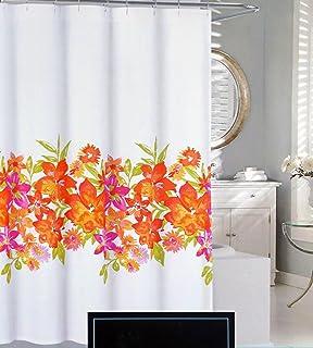 Cynthia Rowley Fabric Shower Curtain Pink Orange Yellow Green Floral  Pattern    Maui