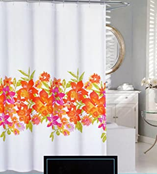 Orange Floral Shower Curtain. Cynthia Rowley Fabric Shower Curtain Pink Orange Yellow Green Floral  Pattern Maui Amazon com