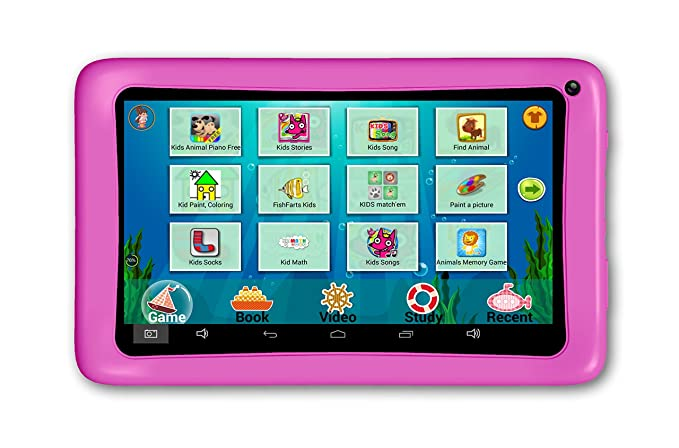 AXXO ST-215P - Kindertablet mit Elternbereich und Vorinstallierte Apps zum Lernen und Spielen, rosa