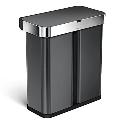 Simplehuman 58 Liter/15.3 Gallon Stainless Steel Touch Free Dual  Compartment Rectangular Kitchen Trash