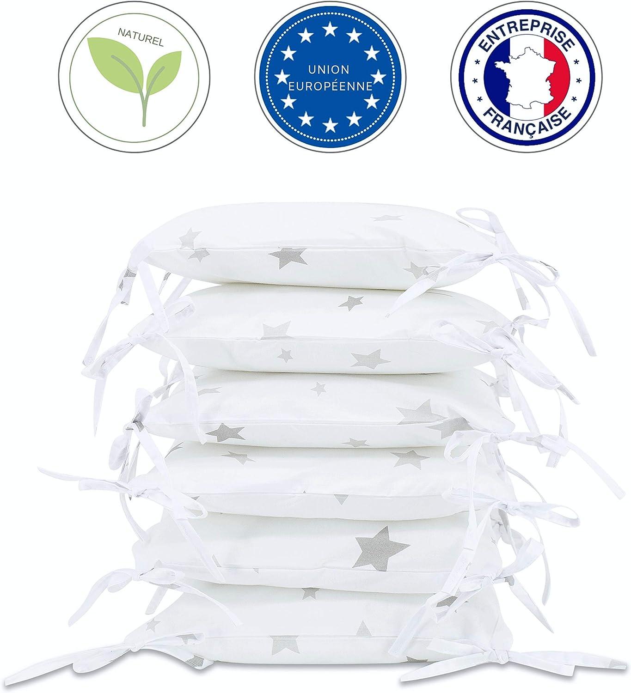 Tour de lit modulable d/éhoussable 100/% Union Europ/éenne lit enfant. Tour coussins pour lit b/éb/é Blanc Etoile Gris Callyna/® parc b/éb/é Universel