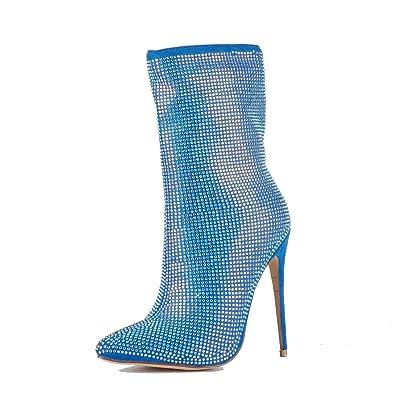 07f3db38365620 Damen Spitze Stiletto High-Heel-Stiefelette mit Strasssteinen besetzt Blau  EU36