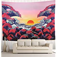 Wekymuu Sunset Tapestry Ocean Wave Tapestry Japanese Tapestry Dorm Tapestry Lightweight, Soft, Wall-Mounted for Home…