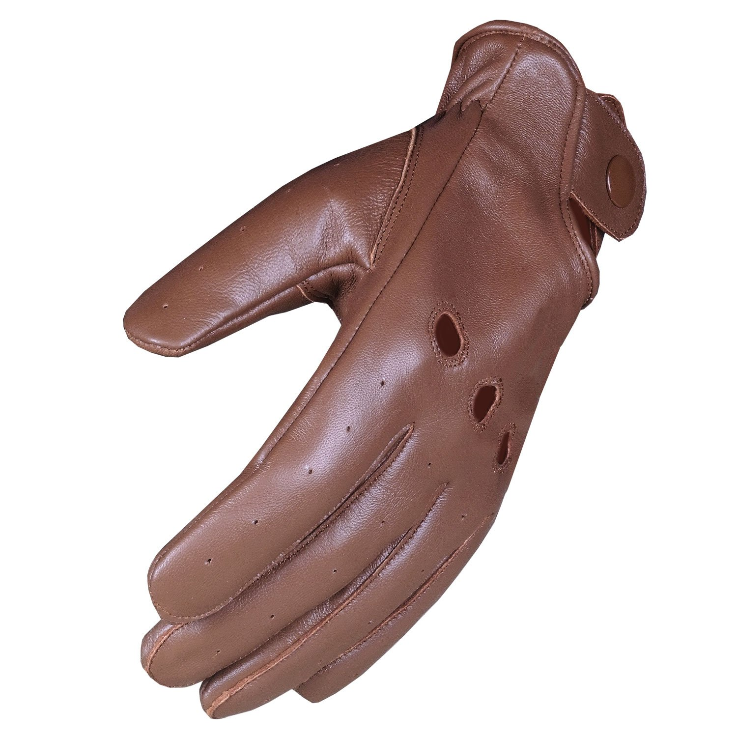Mens Anthem Ventilated Genuine Soft Leather Driving Unlined Brown Gloves