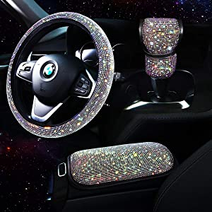Tzarrot Bling Car Accessories set for Women, Bling Steering Wheel Cover for Women Universal Fit 15 Inch, Rhinestone Center Console Cover, Bling Gear Shift Cover, Crystal Car Decor Set 3pc (Multicolor)