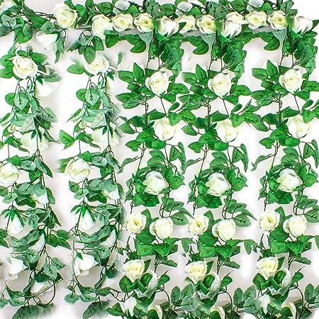 Ezeso - Guirnalda de flores artificiales con hojas verdes para decoración de boda, fiesta, jardín, pared de San Valentín, Blanco, 4 unidades: Amazon.es: Hogar