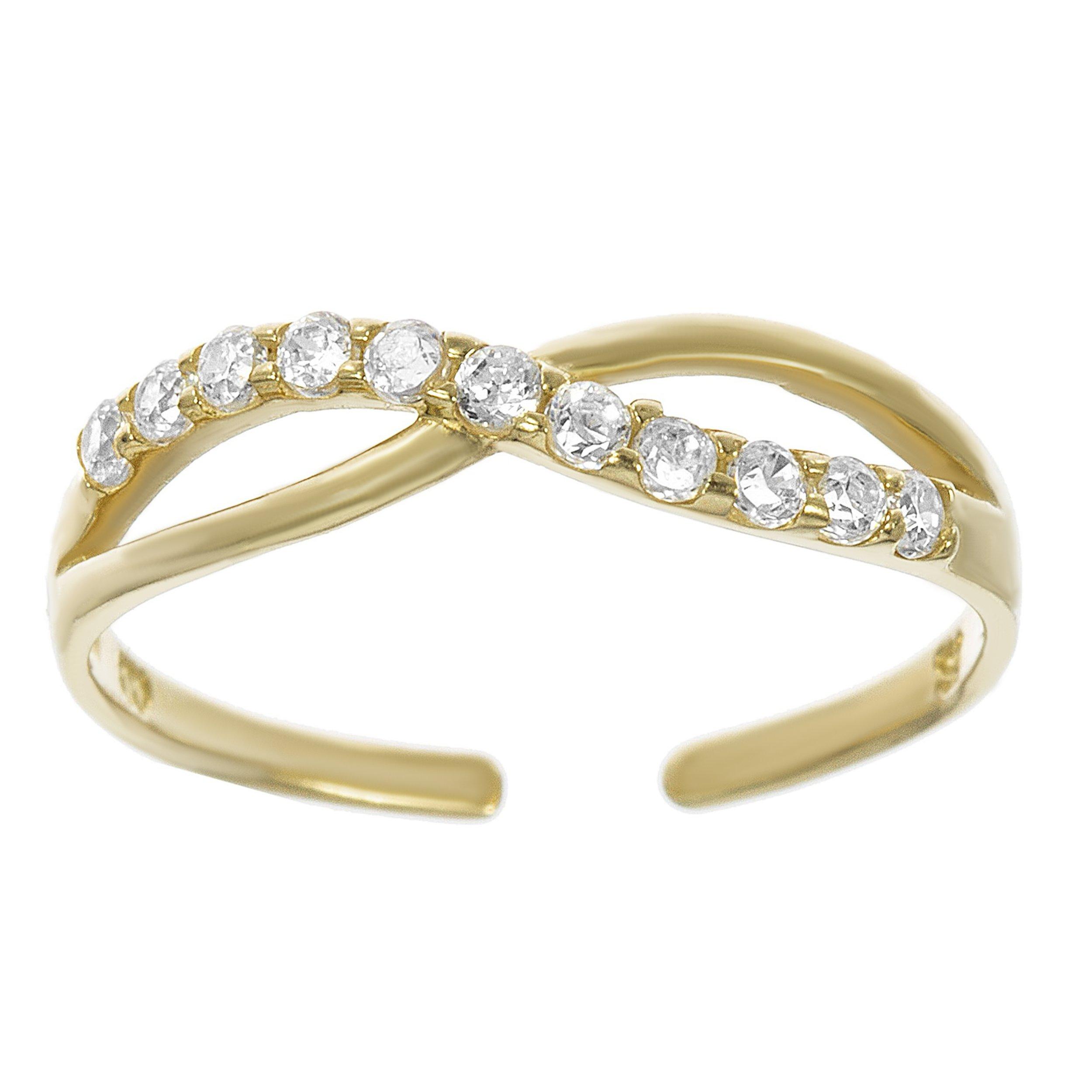 Lavari - 10K Yellow Gold Cubic Zirconium Toe Ring Adjustable by Lavari Jewelers
