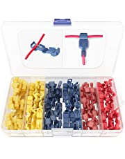120 PCS Wirefy T Tap Electrical Connectors – Quick Wire Splice Taps and Insulated Male Quick Disconnect Terminals