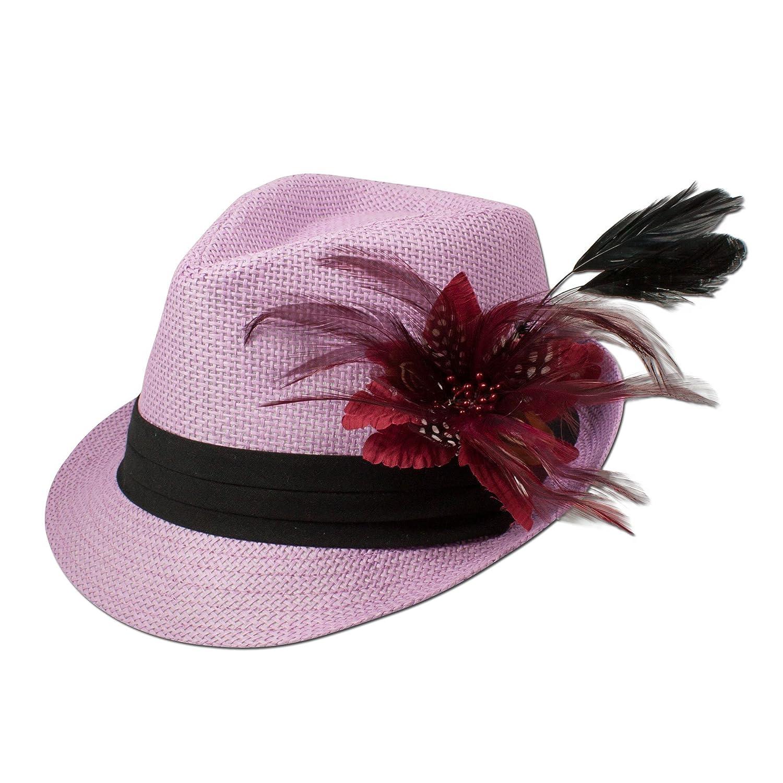 Alpenflüstern Damen Strohhut Trachtenhut rosa mit Feder-Clip ADV03100022 bordeaux
