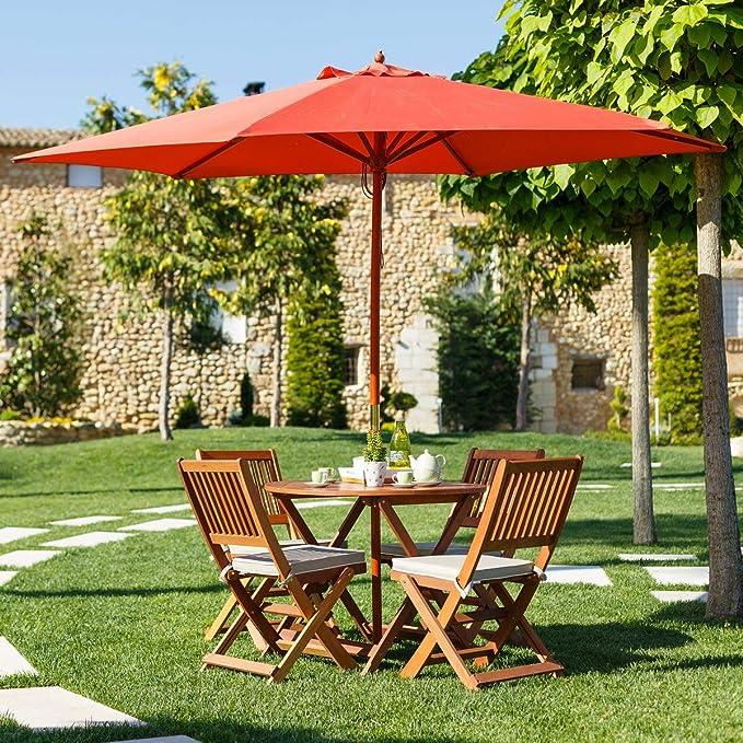 Ldk Garden 82418 - Parasol de jardín plegable, 300 x 300 x 250 cm ...