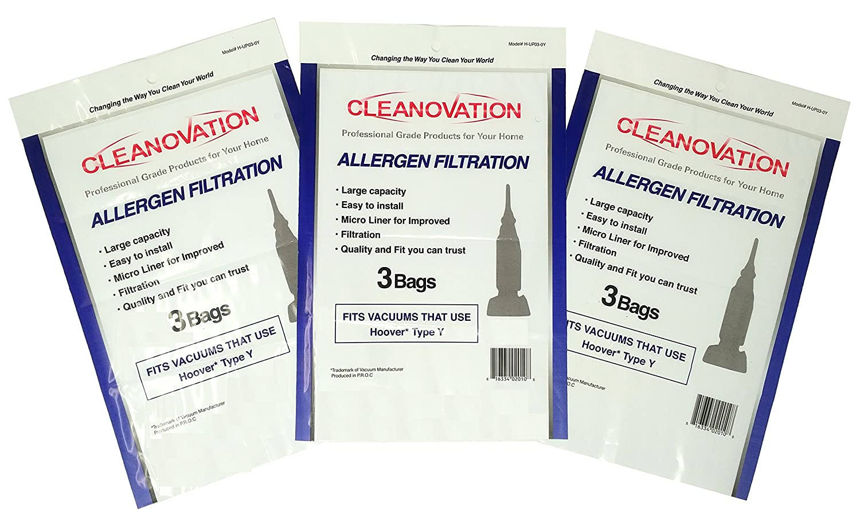 CLEANOVATION - HOOVER Windtunnel Type Y / TypeY / Type-Y Allergy Disposable Vacuum Cleaner Bag - 9 Allergen Bags per Package