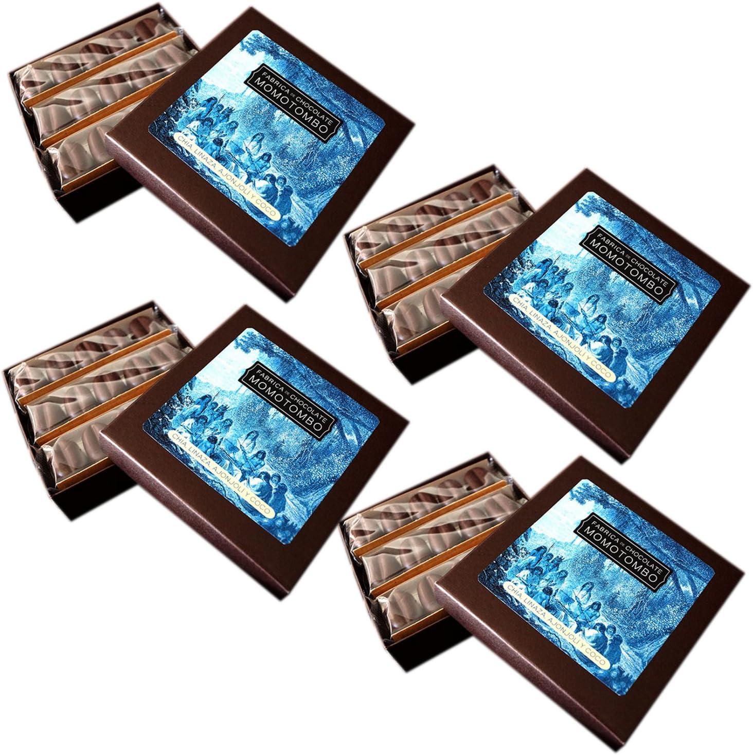 Momotombo-4 Cajas de Bombones de Chocolate Negro-Chia,Lino,Sésamo ...