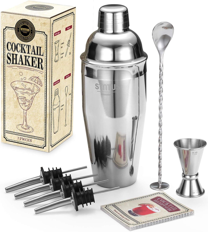 Cocktail Shaker Set, STNTUS Cocktail Shakers, 25 oz Martini Shaker, Bartender Kit, Drink Mixer, Stainless Steel Drink Shaker, Martini Shaker and Strainer, Shakers Bartending, 7 Pcs Bar Set w/ Recipes