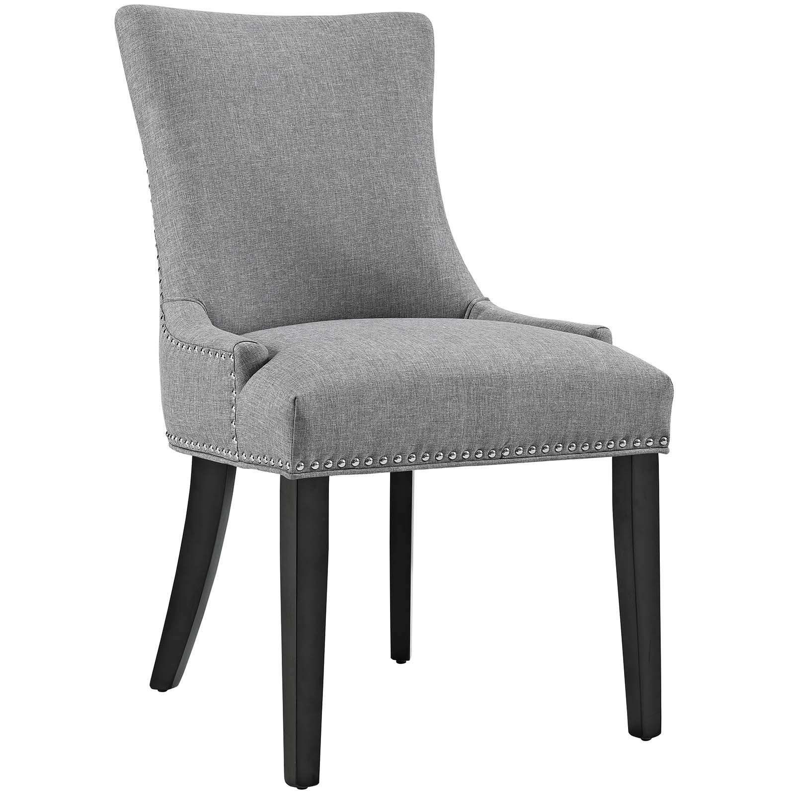 Modway Marquis Modern Elegant Upholstered Fabric Parsons Dining Side Chair With Nailhead Trim And Wood Legs In Light Gray