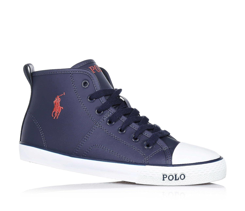 POLO RALPH LAUREN - Zapatilla azul marino con cordones, en cuero ...