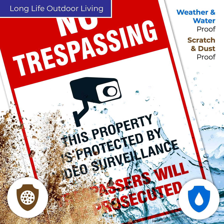 Amazon.com: Cartel de videovigilancia - No Trespassing ...
