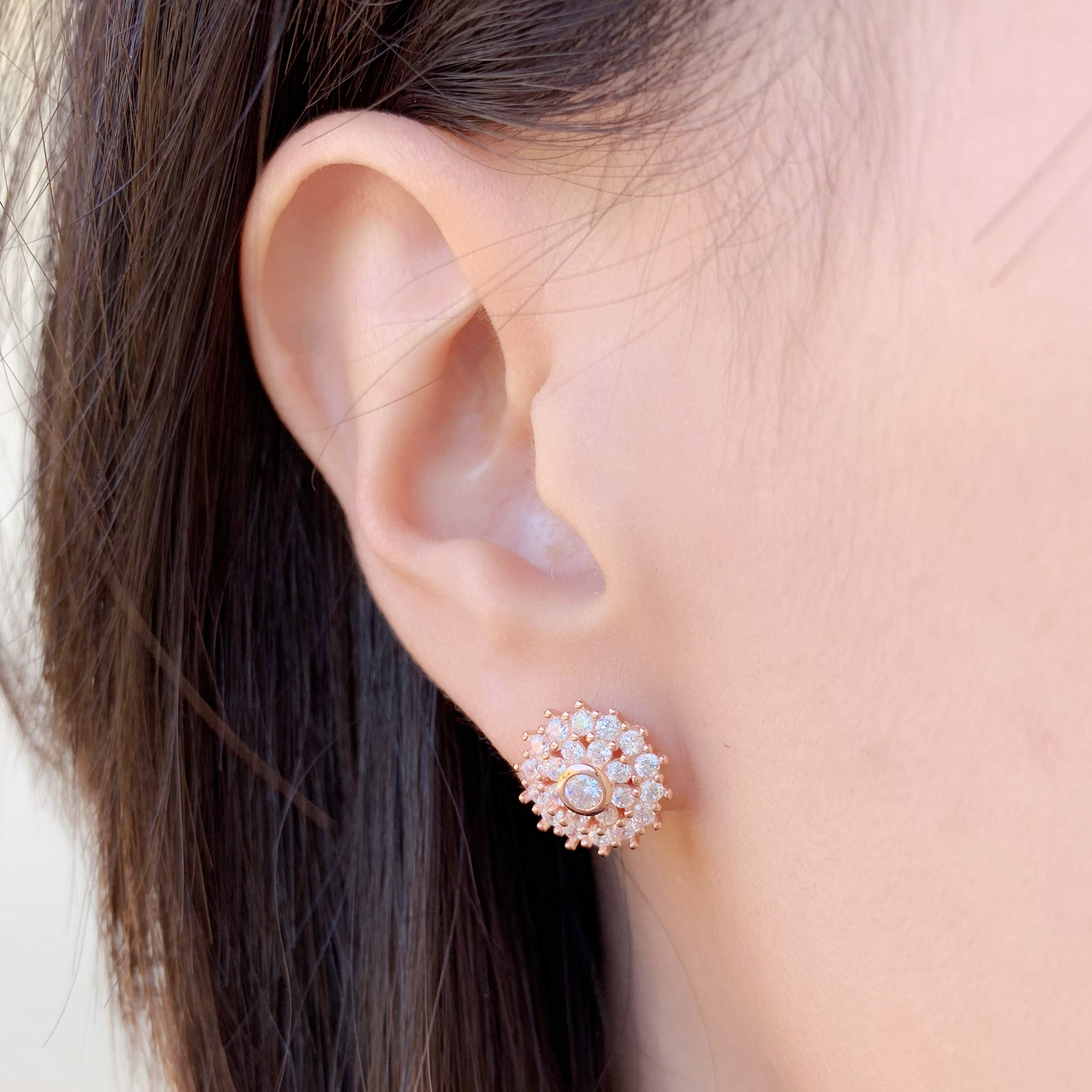 Spoil Cupid Rhodium-Plated Sterling Silver Cubic Zirconia Halo with Baguette Stud Earrings