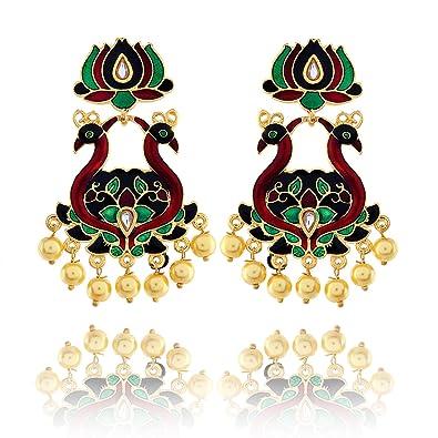 Buy Kh Rajputi Style Lotus Studs With Double Peacock Base Earrings