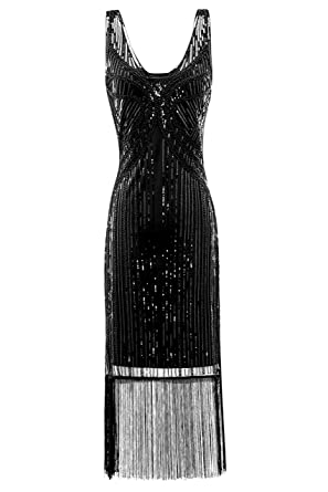 Metme Womens Vintage 1920s Inspired Fringed Art Deco Gatsby Evening Party Dress