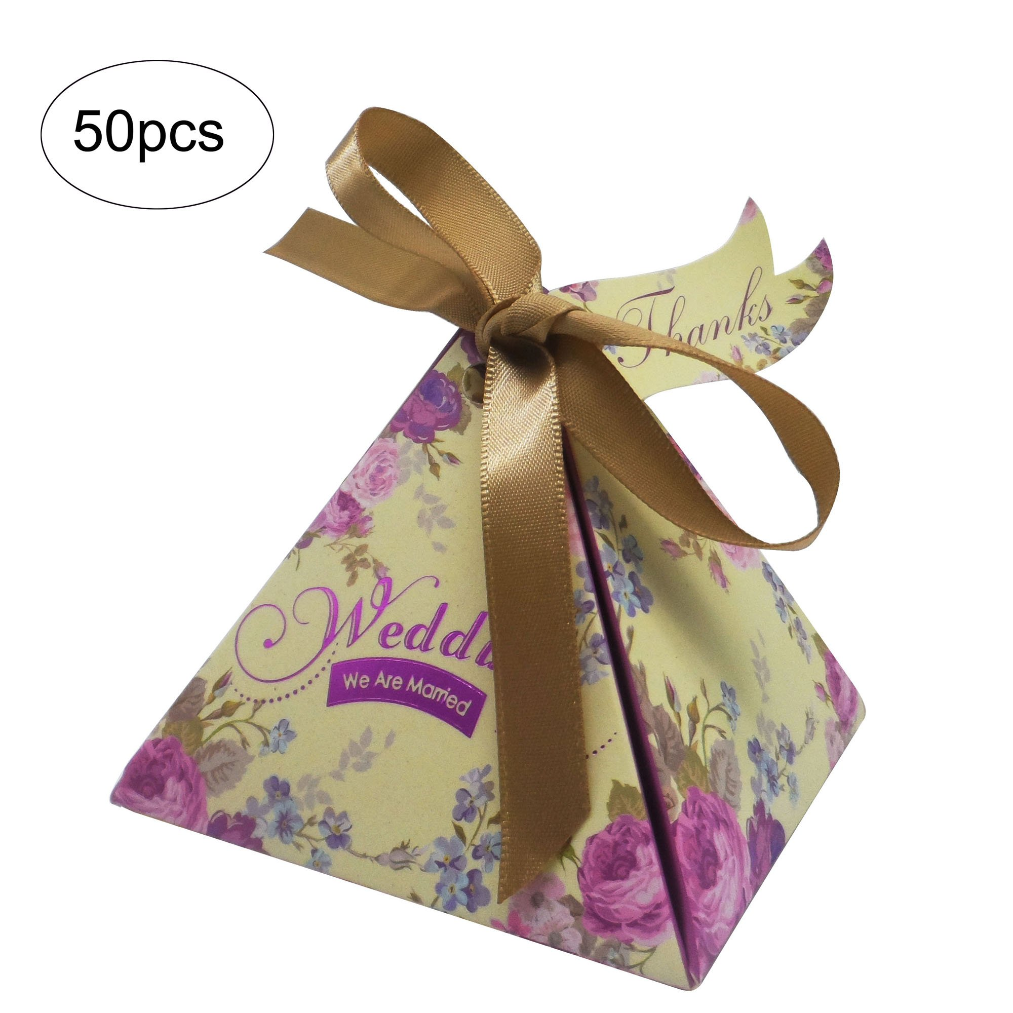 Moleya 50pcs Floral Wedding Candy Gift Boxes with Ribbons for Party Favors and Decoration, Purple
