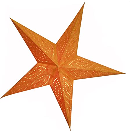 Stella Di Natale A 5 Punte.Brubaker Stella Di Natale Stella Di Carta Con 5 Punte Arancio Batik Con Splendidi Ricami Decorativi In Arancione 60 Cm Amazon It Casa E Cucina