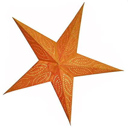 Stella Di Natale A 5 Punte.Brubaker Stella Di Natale Stella Di Carta Con 5 Punte Arancio Batik Con Splendidi Ricami Decorativi In Arancione 60 Cm