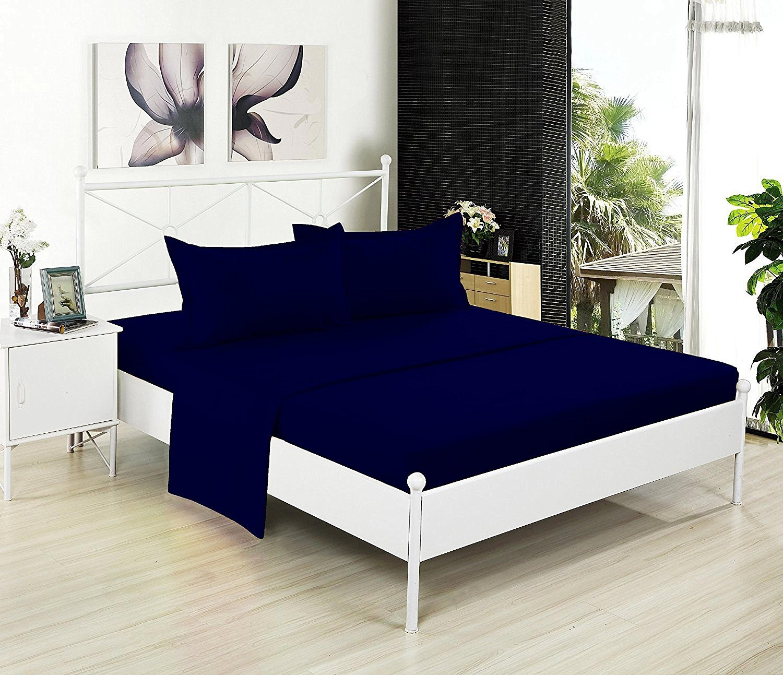 フラットシートのみ – 200スレッドカウント100 %コットン – Soft and Comfy – by Crescent寝具 ツイン ブルー FLS-NAVY-TWIN B01LXBA15X ツイン ネイビーブルー ネイビーブルー ツイン