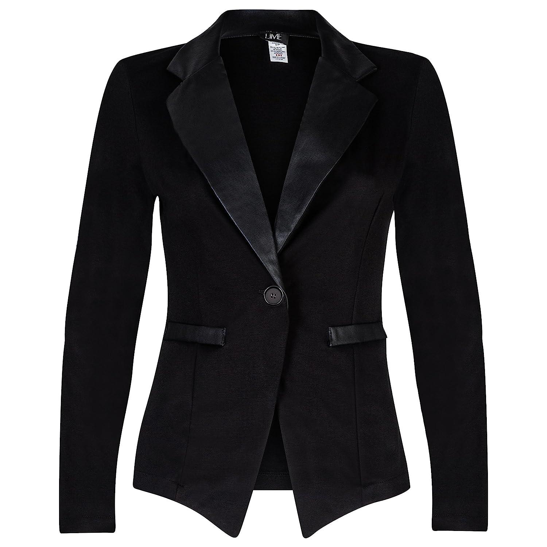Contenta Women's Tuxedo Blazer. Dressy Long Sleeve PU Contrast Lapel Jacket.