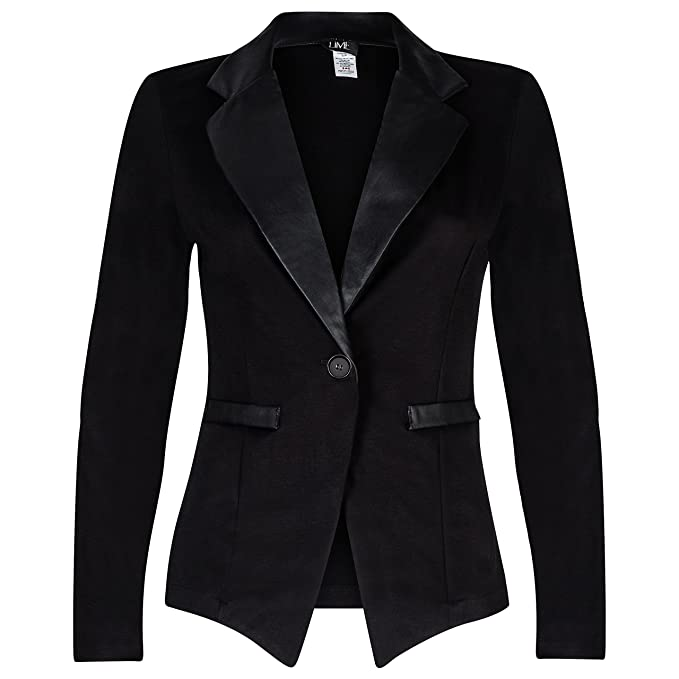 History of 1920s Coats, Furs and Capes Contenta Womens Tuxedo Blazer. Dressy Long Sleeve PU Contrast Lapel Jacket. $59.99 AT vintagedancer.com