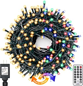 Decute Colors Changing Christmas Lights 4 Colors in 1 String Lights, 11 Modes 108FT 300LED Extendable Waterproof Indoor Outdoor Tree Fairy Lights Warm White & Multicolor with Timer Remote, Green Wire
